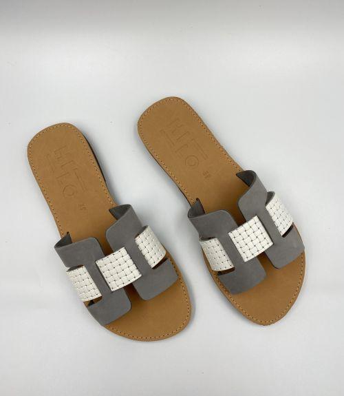 Δερμάτινα flat σανδάλια  - Γκρι