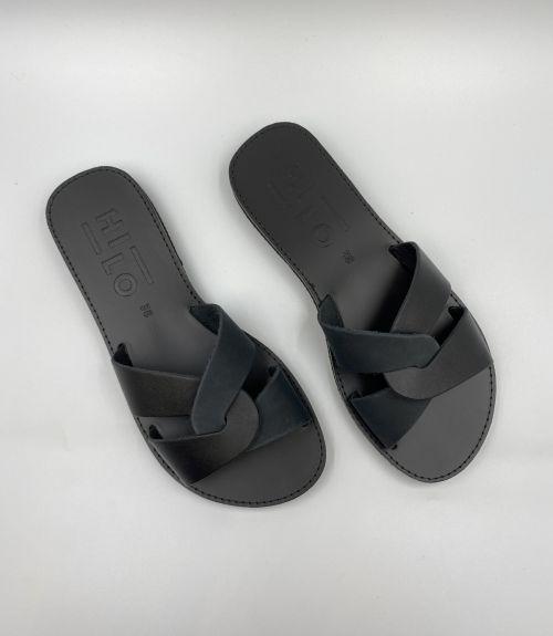 Δερμάτινα σανδάλια με συνδυασμό χρωμάτων - Μαύρο