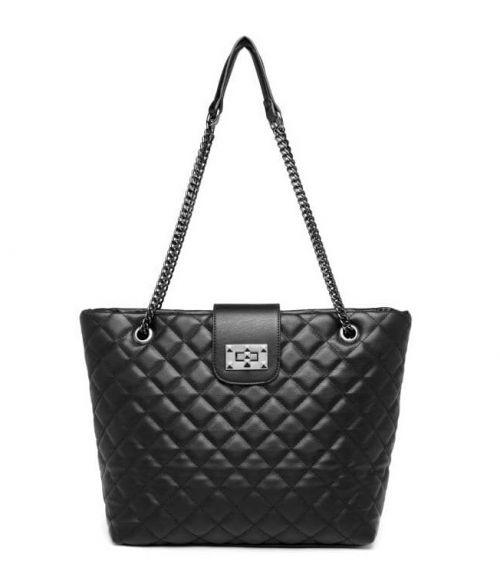 Καπιτονέ τσάντα με αλυσίδες - Μαύρο