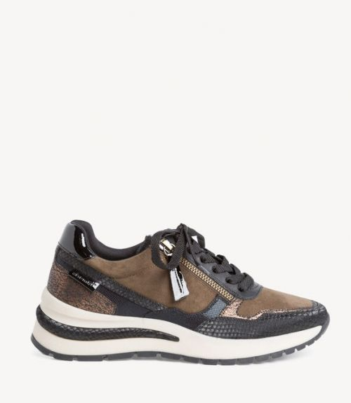 Tamaris δερμάτινα sneakers - Χακί