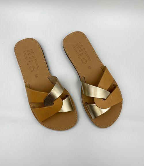 Δερμάτινα σανδάλια με συνδυασμό χρωμάτων - Χρυσό