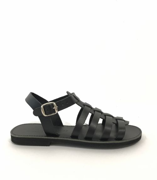 Δερμάτινα πέδιλα gladiator - Μαύρο