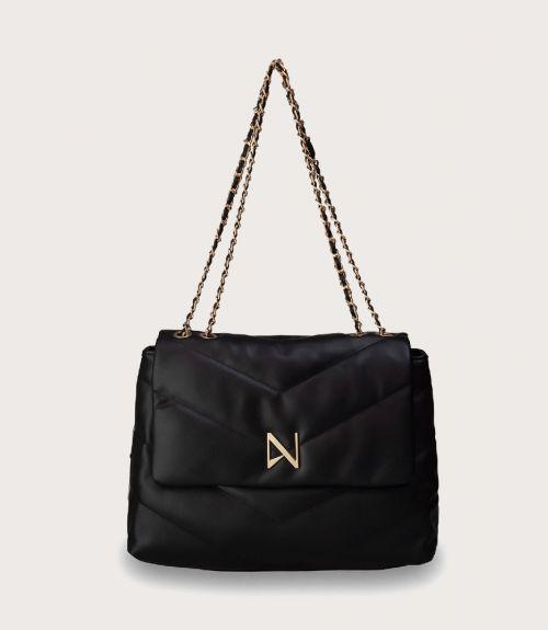 Keira τσάντα ώμου με αλυσίδα - Μαύρο