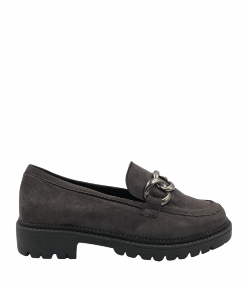 Suede loafers με αλυσίδα - Γκρι