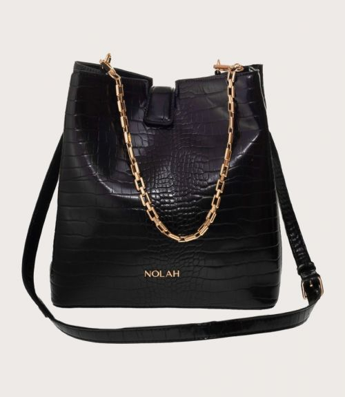 Aliya τσάντα κροκό - Μαύρο