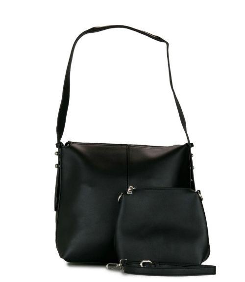 Τσάντα ώμου με τρουκ - Μαύρο