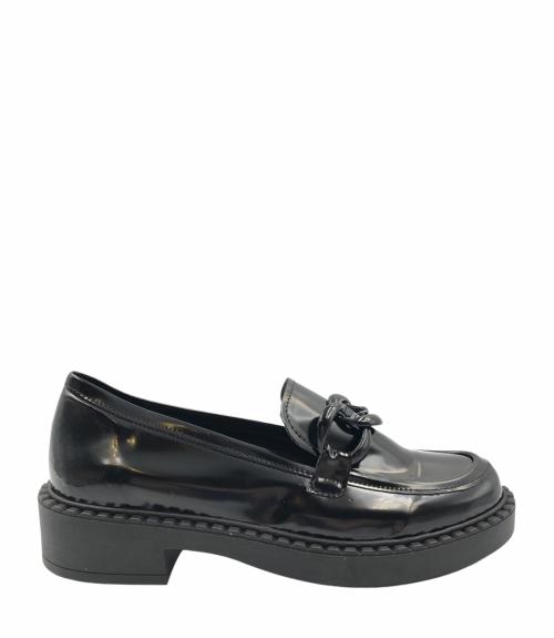 Loafers με μαύρη αλυσίδα - Μαύρο