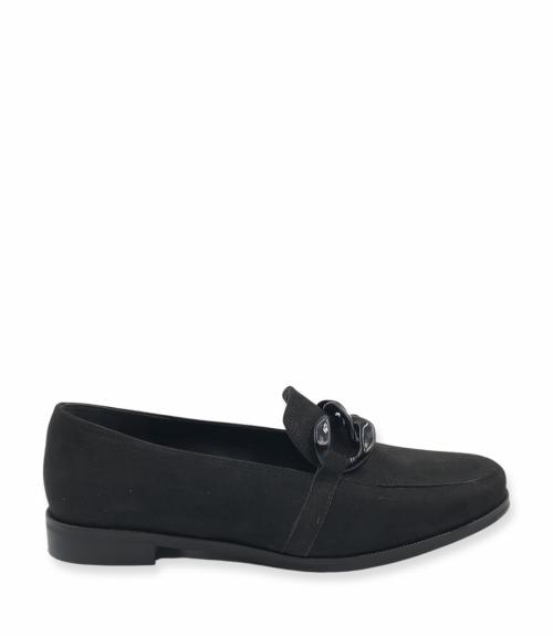 Suede loafers με αλυσίδα - Μαύρο