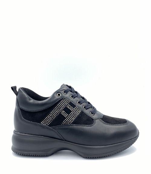 Sneakers με strass - Μαύρο
