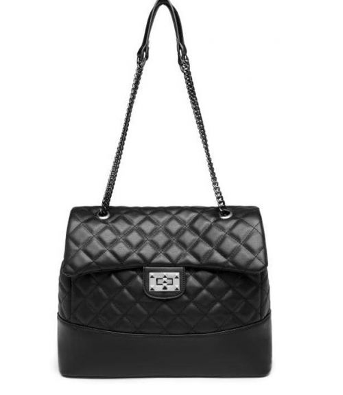 Καπιτονέ τσάντα ώμου - Μαύρο