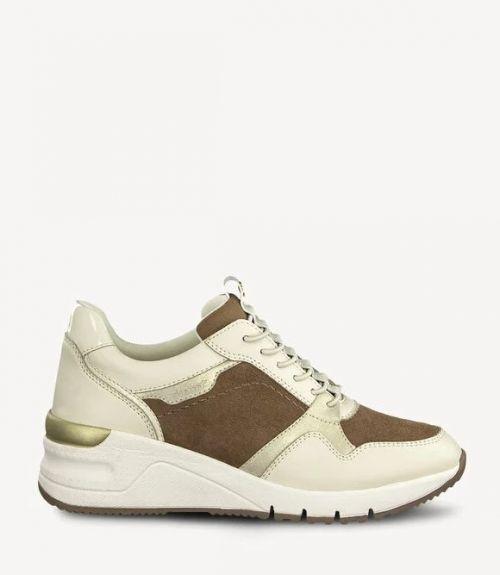 Tamaris δερμάτινα sneakers - Μπέζ