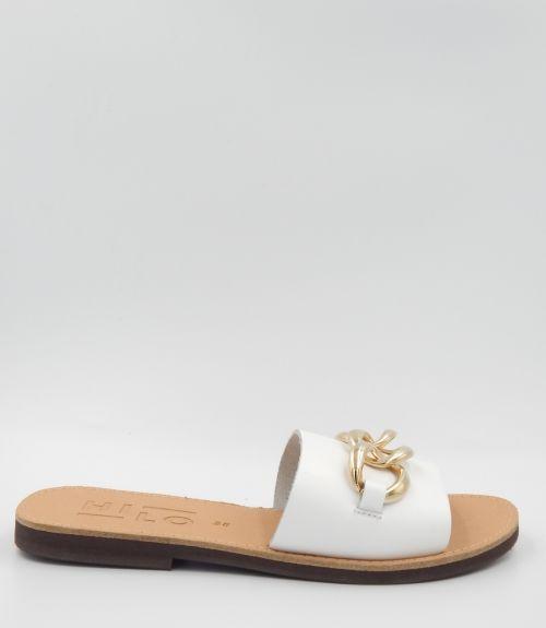 Δερμάτινα σανδάλια με αλυσίδα - Λευκό