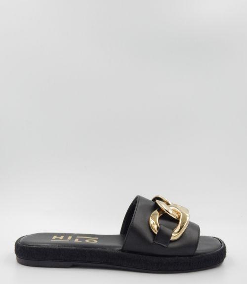 Flat σανδάλια με αλυσίδα  - Μαύρο
