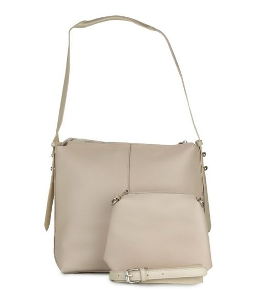 Τσάντα ώμου με τρουκ - Μπέζ