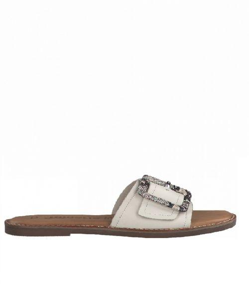 Tamaris flat σανδάλια με εγκράφα  - Λευκό
