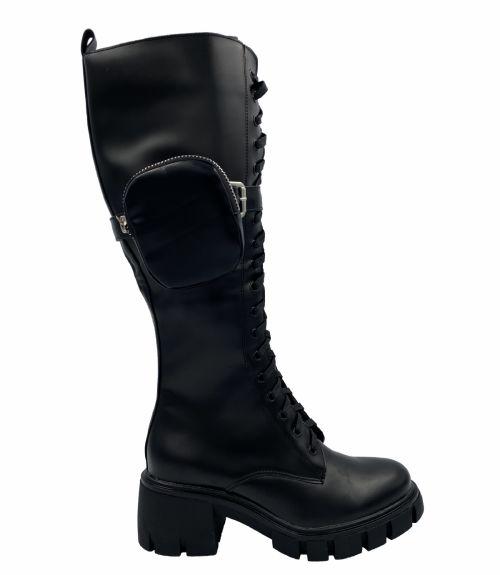 Μπότες με κορδόνια και πορτοφολάκι - Μαύρο