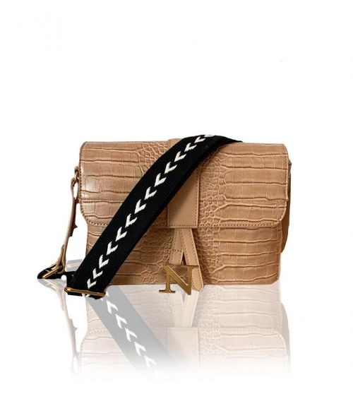 Zoe τσάντα κροκό   - Μπεζ