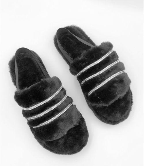 Γούνινες παντόφλες  - Μαύρο