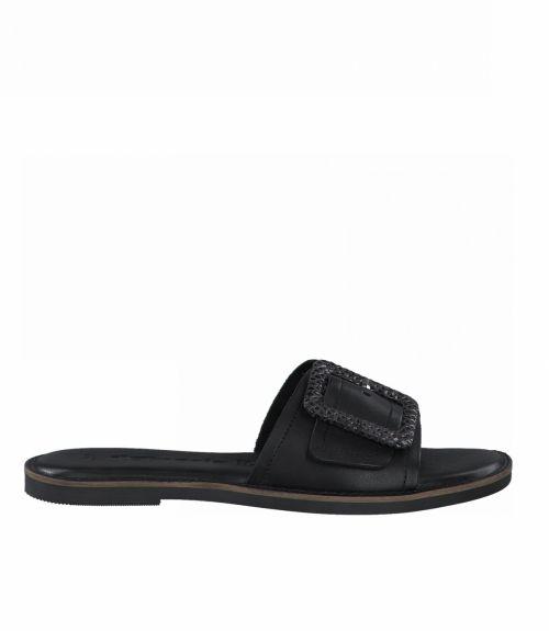 Tamaris flat σανδάλια με εγκράφα  - Μαύρο