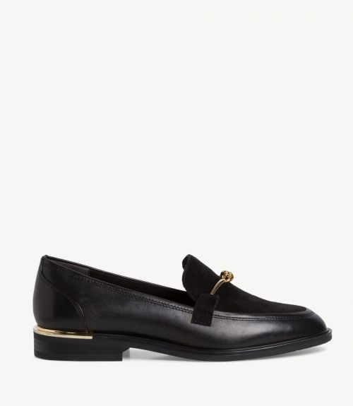 Tamaris δερμάτινα loafers με εγκράφα - Μαύρο