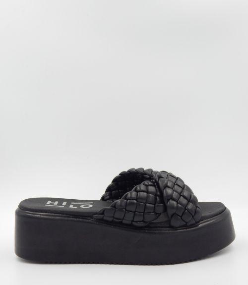 Flatforms με χιαστί πλεξούδες - Μαύρο